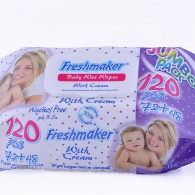 Freshmaker Jumbo Baby törlőkendő 120 db-os kupakos